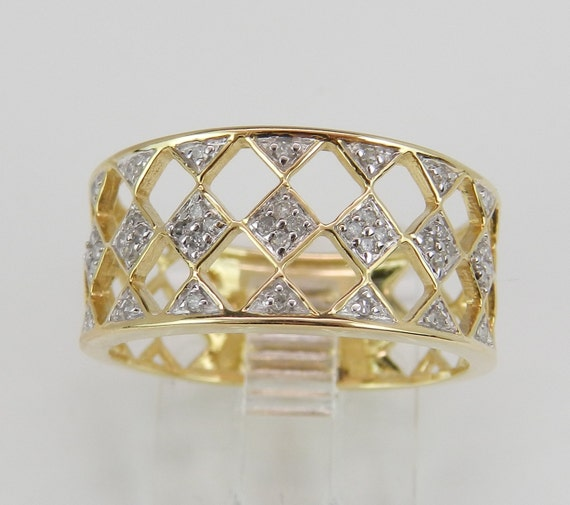 Diamond Cluster Cocktail Ring Anniversary Cigar Band Yellow Gold Ring Size 7