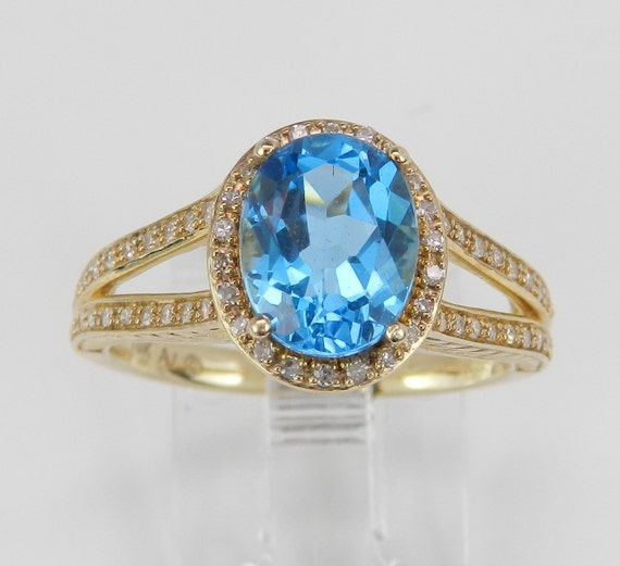 Diamond and Blue Topaz Halo Engagement Promise Ring Yellow Gold Size 7 December Gem