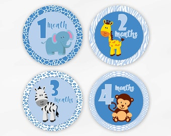 Baby Monthly Stickers for Photos - Light Blue Jungle Animals Set of Waterproof Tear Resistant Stickers for Baby Boy (6002-3)