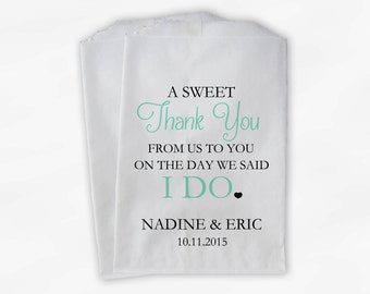 Wedding Candy Buffet Treat Bags - A Sweet Thank You Mint Green Personalized Favor Bags with Bride and Groom's Names and Date (0085)