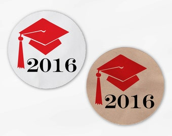 2017 Graduation Cap Favor Stickers in Red - Custom White Or Kraft Round Labels for Bag Seals, Envelopes, Mason Jars (2012)
