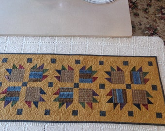 Bear's Paw Table runner Quilt, plaids and neutral quilt, scrappy table runner,0205-01