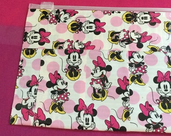 Minnie Mouse Bag,Clutch, Wristlet, Cosmetic Make up bag, Purse, Hair clips, Pencil pouch, Money bag, gift bag