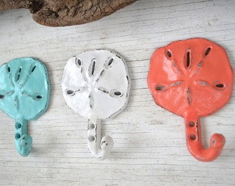 Beach Decor 3 Cast Iron Sand dollar Hook, Coat hook, Tropical Decor
