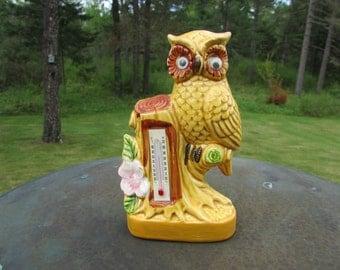 Vntg Thermometer Owl Figurine