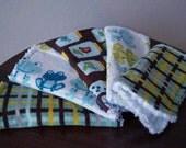 Baby Boy Washcloths - Boy Wash Cloth Set - Frogs - Brown - Blue - Green - Boy Washcloths - Cute Baby Boy Gift