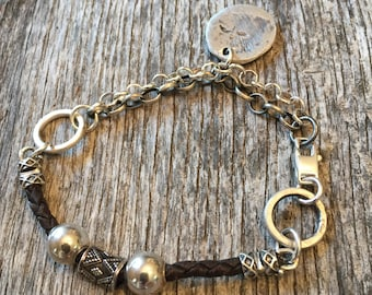 Bohemian Leather Sterling Silver - Hand Forged - Multi Strand Chain Bracelet - Fine Silver Intial Charm - Artisan Rustic Jewelry