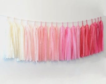 OMBRE PINK Tassel Garland Banner-  Party Decor, Party, Weddings / fully assambled