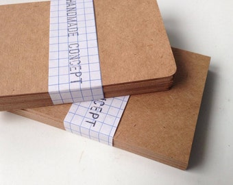 "100 Mini Kraft Cards , Blank Note Cards ,size 4"" X 2.5"" , rounded corners / or straight corners"