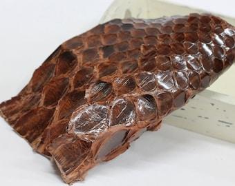 Genuine Brown Python  Skin , Real Python Leather , Brown Snakeskin