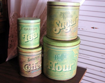 Metal Canister Set By Ballonoff / Green Retro Kitchen