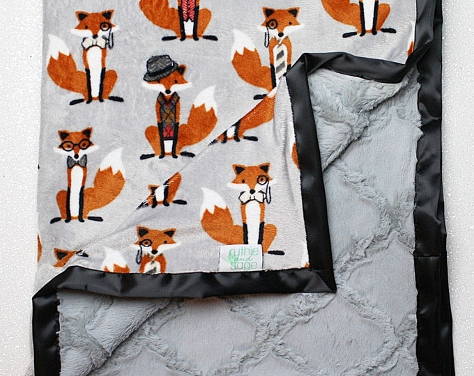 Minky Blanket, fox blanket, baby Blanket, baby boy, modern blanket, hipster baby, baby girl blanket, fox nursery, decor, oyster lattice