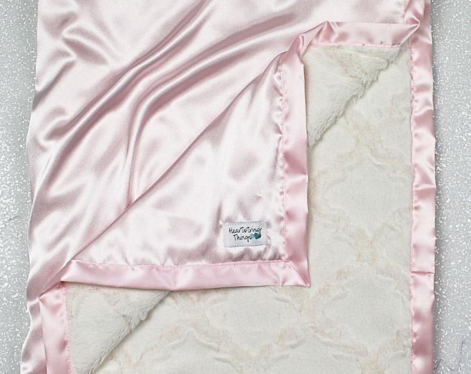 Minky blanket, satin and minky, Child blanket, pink and cream, ruffle blanket, satin ruffle, Soft blanket baptism blanket elegant blanket