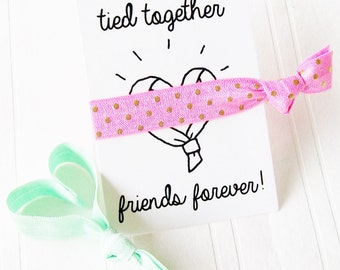 Hair Tie Gift Card Party Favor, Sleepover Slumber Party Survival Kit Graduation End of School Party Besties Bridal Shower Sweet 16 party