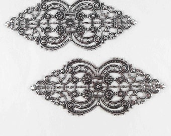 Brass Filigree Blank, Brass Filigree, Bracelet Base, Cuff Base, Antique Silverplate, US Made, Bsue Boutiques, 4 Inches Long, Item07715