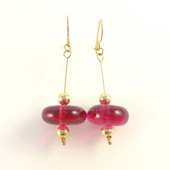 Pink & gold bead ear-rings