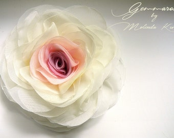 Pink  and ivory voile Rose - 100% handmade  - brooch /hair clip- MADE TO ORDER