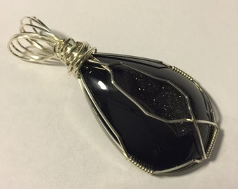 Black Druzy Pendant Wire-Wrapped in Sterling Silver Wire