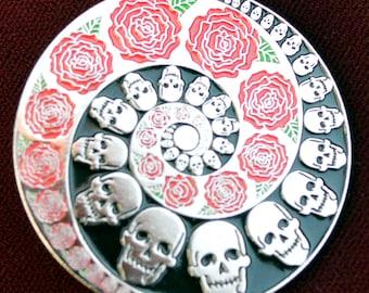 Vintage Grateful Dead Relix Spiral Skull and Roses Large Pin Enamel Uber Kuchi®