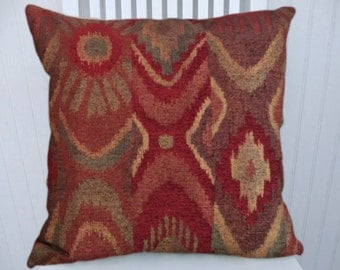 Red Chenille Decorative Pillow Cover 18x18 or 20x20 or 22x22 Throw Pillow Cover- Abstract Pillow Cover