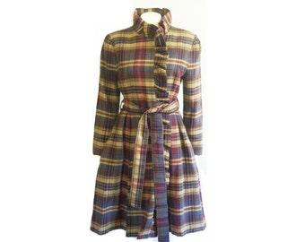 Plaid Dress Coat - a Handmade One of a Kind Women's Coat
