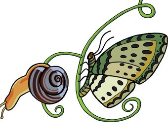Surreal Butterfly and Snail Sticker - Gift - Art - New Year