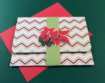 Handmade, Christmas, Gift Card Holder, Handmade Card, Holiday Card, Handmade, Holiday, Chevron, Poinsettia, Red, White, Green