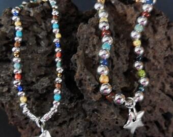 sterling charm bracelet, silver charm bracelet, sparkly charm bracelet, star charm, stretch bracelet, gift for her