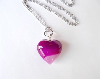 Magenta Heart Necklace, Fall Jewelry, Gift for Her, Stocking Stuffer, Natural Stone Necklace