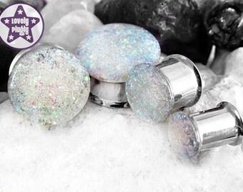 "Ice Planet of Hoth Glitter Plug / Gauge Iridescent White Wedding Prom 1/2"", 9/16"", 5/8"", 11/16"" / 12mm, 13mm, 14mm, 16mm, 18mm"