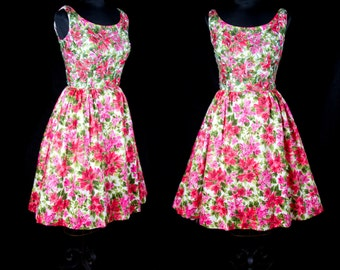 1950s Dress // Sequin Bodice Azalea Flower Polished Cotton Full Skirt Party Dress