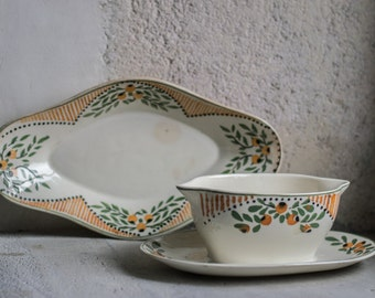 French Vintage Serving Set // Platter & Gravy Boat