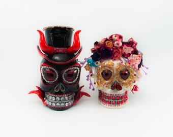 Skull Devil weddings cake topper handmade