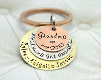 Custom Grandma Key Chain - Great Mom's Get Promoted - Mixed Metal Keychain - Nana - Nanny - Grams - Grammy - Mother's Day Gift