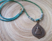 "Buddha necklace Sitting Buddha in lotus temple amulet with moss agate, turquoise and green and blue beads 18"" OOAK Buddha necklace"