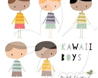 Kawaii Boys Digital Clip Art Clipart Set - Personal and Commercial Use