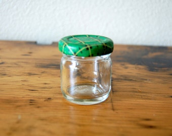 Vintage Little Green Scotch Plaid Covered Jar Vintage Lidded Jar Photography Prop Retro Craft Jar Storage Jar from The Eclectic Interior