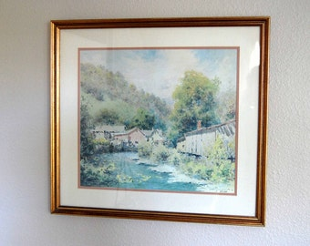 Vintage Paul Sawyier Lithograph Village Stream Vintage Framed Numbered Paul Sawyier Listed Artist Lithograph fom The Eclectic Interior