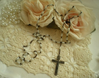 Shabby Chic Vintage White Saint Jude INRI Crucifix Rosary Circa 1950's Shrine of St. Jude Chicago SincerelyRaven