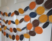 Fall Garland, Brown and Orange Circle Garland, Thanksgiving Decorations, Fall Decorations, Back to School Decor