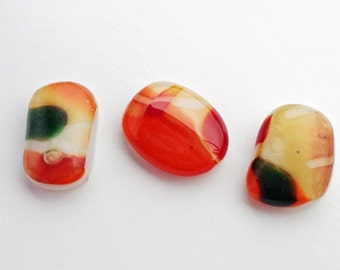 Fused Multi-Colored Marbled Glass Cabochons