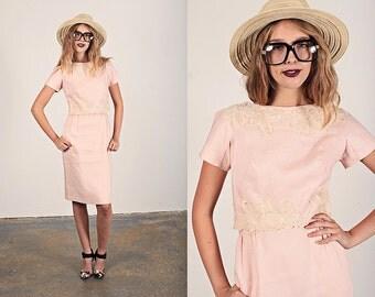 Vintage 50s Cocktail Dress Fitted Pink Linen Applique Dress