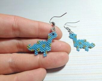 Dinosaur earrings, beaded dinosaur, beaded charm, brick stitch earrings, peyote earrings, peyote, beaded blue dinosaur, dinosaur