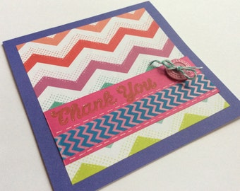 Thank You Card, Chevron Card, Chevron Thank You Card, Rainbow Card, Rainbow Thank You Card, Handmade Card