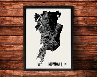 Mumbai Map Art Print   Mumbai Print   Mumbai Art Print   Mumbai Poster   Mumbai Gift   Wall Art