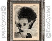SALE Bride of Frankenstein on Vintage Upcycled Dictionary Art Print Book Art Print Recycled Classic Movie Monster book lover art book lover