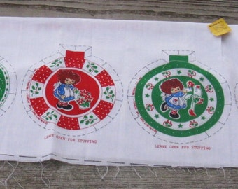 vintage Raggedy Ann Christmas ornament kit printed cloth for ornaments set of 6
