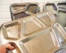 Three cafeteria trays stainless steel institutional military shabby jail decor