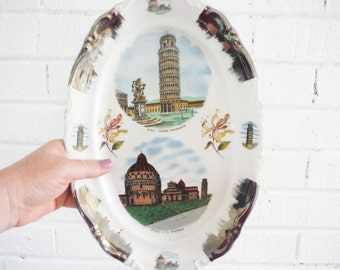 Large Italian souvenir platter wall art plate il duomo  tower of pisa kronester bavaria white gold leaf vintage