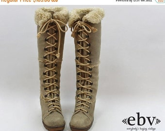Vintage 70s Leather Lace Up Boots size 5.5 Shearling Fur Boots 70s Knee High Boots Leather Boots size 5.5 Knee Boots Fur Lined Boots